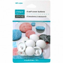"UNIQUE SEWING Buttons to Cover - Nylon - size 30 - 18mm (¾"") - 6 sets"