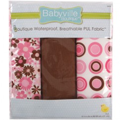 Babyville Waterproof PUL fabric in package - Mod Girl
