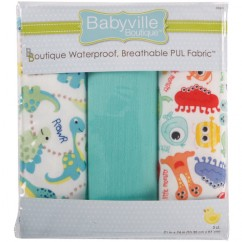 Babyville Waterproof PUL fabric in package - Dinosaurs/Monsters