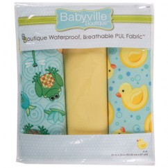 Babyville Waterproof PUL fabric in package - Playful Ponds