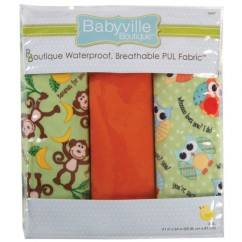 Babyville Waterproof PUL fabric in package - Monkey/Hoot