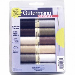 GÜTERMANN 12 pc Sew-All 100m Thread Set - Neutral Colours