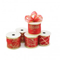 Wired Glitter Christmas Ribbon - Red - 2.5 inch x 10 yards