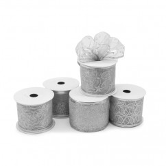 Wired Christmas Ribbon - Silver - 2.5 inch by 10 yards