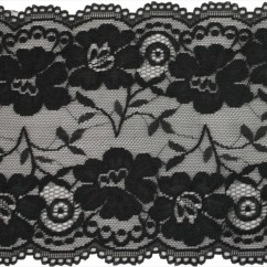 Stretch lace Trims - 6 inches - Black