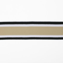 Elastic Belting - Stripes - White, Black / Taupe