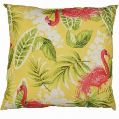 Indoor/Outdoor Cushion - Flamingo - Yellow - 18 x 18''