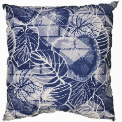 Indoor/Outdoor Cushion - Leaf - Navy - 18 x 18''