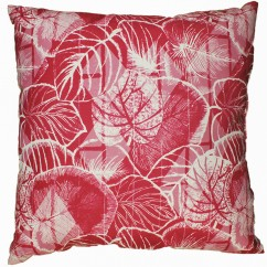 Indoor/Outdoor Cushion - Leaf - Fuchsia - 18 x 18''