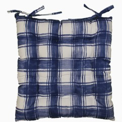 Indoor/Outdoor Chair Pad - Plaid - Navy - 17 x 17''