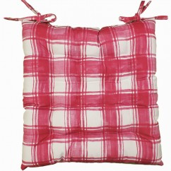Indoor/Outdoor Chair Pad - Plaid - Fuchsia - 17 x 17''