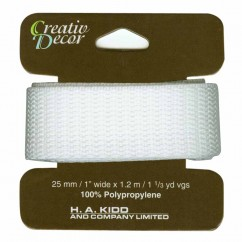 "CREATIV DÉCOR Webbing 25mm x 1.2m (1"" x 1¼yd) - White"