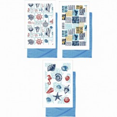 Kitchen Towels - Nautical - Blue & white - 15 x 25''