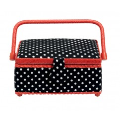 Sewing basket - Small - Polka Dots - Black and White