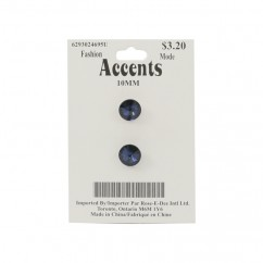 Glitter Shank Buttons - navy - 10mm (3/8 inches) Line 16