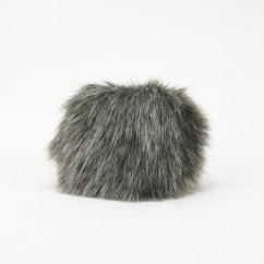 FAUX FUR POMPOM - 4 inch - 4 inch - Pewter with white tips