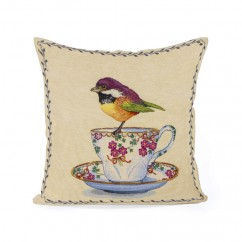 Decorative cushion cover - Tapestries - Bird 2 - Beige - 18 x 18''