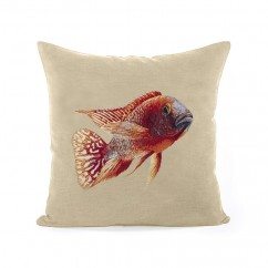 Decorative cushion cover - Tapestries - Fish 2 - Beige - 18 x 18''