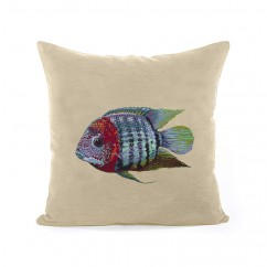 Decorative cushion cover - Tapestries - Fish 3 - Beige - 18 x 18''