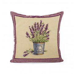Decorative cushion cover - Tapestries - Lavender - Beige - 18 x 18''