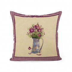 Decorative cushion cover - Tapestries - Flowers - Beige - 18 x 18''