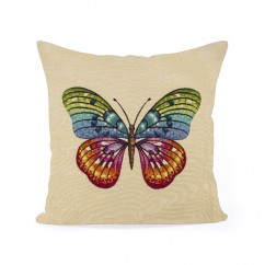 Decorative cushion cover - Tapestries - Butterfly 2 - Beige - 18 x 18''