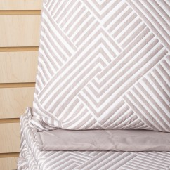 Geo - 3 pc Jacquard Quilt set - Grey