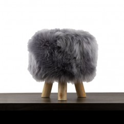 Fur Stool - Grey - 12 x 12 x 14''