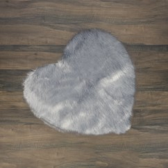 Fur Heart Rug - Grey - 35 x 35''