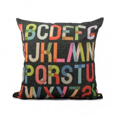 Decorative cushion - Multicoloured letters - Charcoal - 18 x 18''