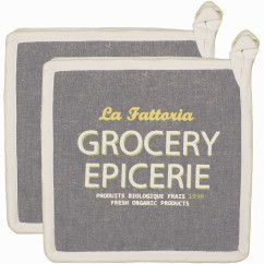 Pot Holder With Pocket - Grocery - Grey & yellow - 8 x 8''