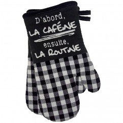 Oven Mitts - Coffee - Black & white