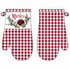 Oven Mitts - Mangia - Red & white
