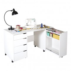 Crea Sewing Table on Wheels - White