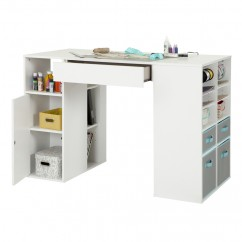 Crea Counter Height Craft Table with Storage - White