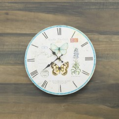 Wall Clock - Butterflies - Aqua - 13 x 13 x 1,5''