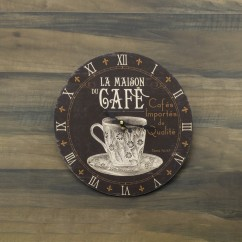 Wall Clock - Café - Brown - 13 x 13 x 1,5''