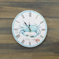 Wall Clock - Blue crab - Aqua - 13 x 13 x 1,5''