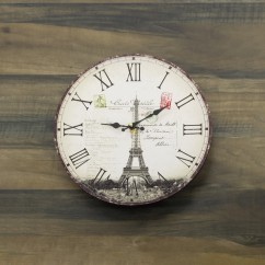 Wall Clock - Tour Eiffel - Brown - 13 x 13 x 1,5''