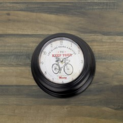 Wall Clock - Bicycle - Brown - 13 x 13 x 2''