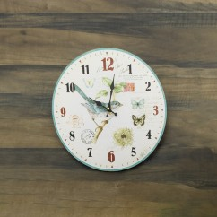 Wall Clock - Bird - Aqua - 13 x 13 x 1,5''