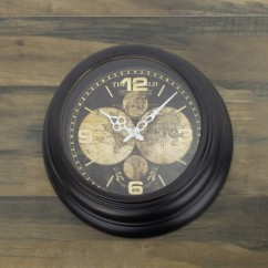 Wall Clock - The world - Brown - 17 x 17 x 2''