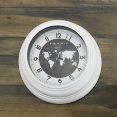 Wall Clock - The world - White - 17 x 17 x 2''