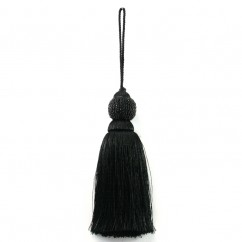 Beaded ball tassel 6 inch - Black