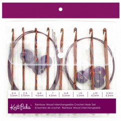 "KNIT PICKS Interchangeable Rainbow Wood Circular Crochet Hook Set - 15cm (6"") - 8 pcs."