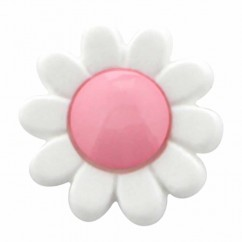 "CIRQUE Novelty Shank Button - Pink - 15mm (⅝"") - Flower"