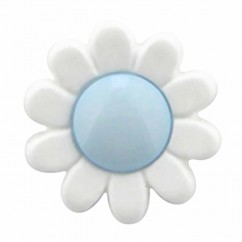 "CIRQUE Novelty Shank Button - Light Blue - 15mm (⅝"") - Flower"