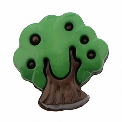 "CIRQUE Novelty Shank Button - Green - 18mm (¾"") - Tree"