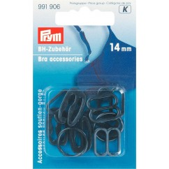 Bra Accessories - Plastic Asst. - 14mm - Black