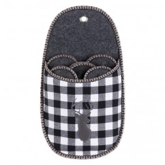 Plaid slipper holder - White